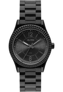 Relógio Euro Aro Spikes Feminino - Feminino-Preto