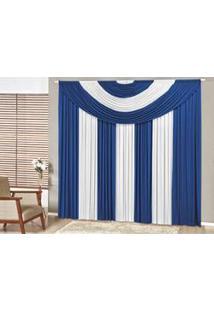 Cortina Suprema Quarto Sala 2,00(Larg) X 1,70(Alt) Azul Branca