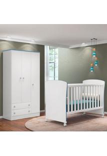 Quarto De Bebê Guarda Roupa Doce Sonho E Berço 2484 Branco/Azul - Qmovi