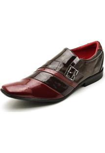 Sapato Social Top Franca Shoes Verniz Masculino - Masculino-Cafe