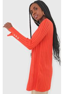 Maxi Cardigan Tricot Dress To Canelado Laranja