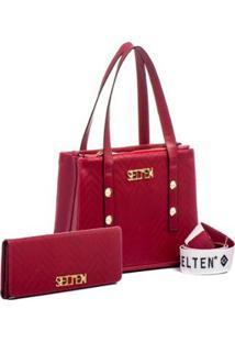 db5304fd7 R$ 239,99. Zattini Bolsa Feminina De Mão Transversal Kit Vermelha E Carteira  - Feminino-Vermelho Selten Com