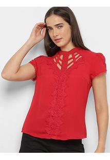Blusa Lemise Stripes Guipir Pérolas Feminina - Feminino-Vermelho