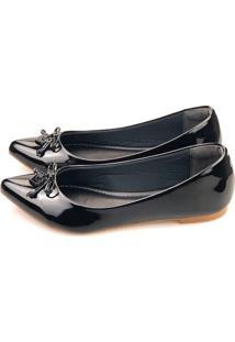 Sapatilha Love Shoes Bico Fino Laço Coração Verniz Preto