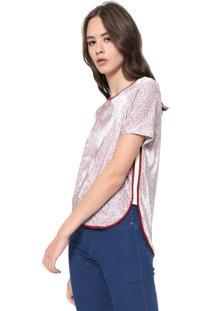 Blusa Calvin Klein Jeans Veludo Mini Flower Rosa