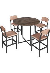 Conjunto De Mesa Oval Para Sala De Jantar Com 4 Banquetas -Brastubo - Am Negra / Preto