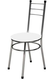 Cadeira Baixa 0.236 Redonda Cromado/Branco - Marcheli