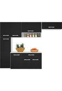 Cozinha Compacta Suspensa Poquema 8 Portas 1 Gaveta Anita Preta