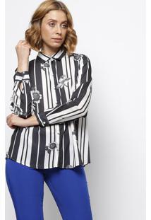 Camisa Listrada Floral- Preta & Branca- Intensintens