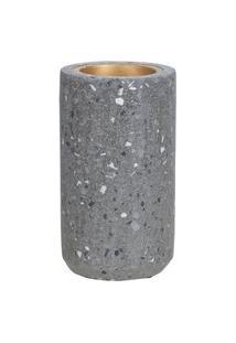 Porta Vela Cinza Em Cimento 14 Cm D'Rossi