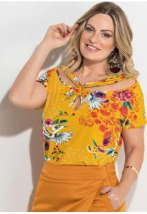 Blusa Estampada Amarela Com Transpasse Plus Size