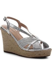 Sandália Anabela Shoestock Metalizada Corda Feminina - Feminino-Prata