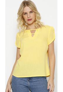 Blusa Texturizada Com Tiras-Amarela-Vip Reservavip Reserva