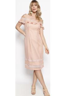 Vestido Em Renda Com Recortes Vazados- Rosa Claro- Nnectarina