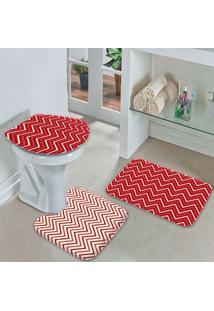 Jogo Tapetes Para Banheiro Chevron Tons Vermelhos Único