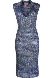 Missoni Vestido De Tricô Com Aplicação De Paetês - Azul