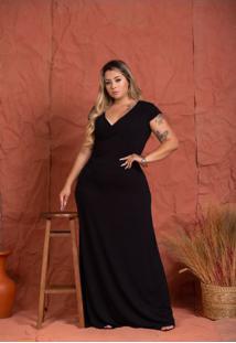 Vestido Transpassado Emily Black Plus Size