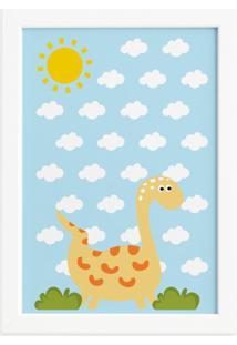 Quadro Infantil Dinossauro Baby 2 Amarelo 22X32 Moldura Branca