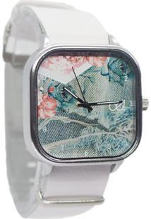 Relógio Bewatch Pulseira De Couro Branco Jeans Floral