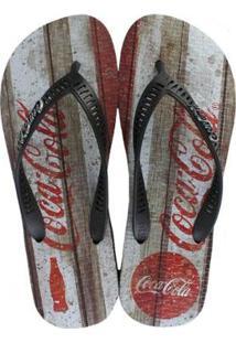 Chinelo Coca Cola Coke Retro Wood Masculino - Masculino-Preto