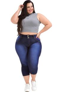 Calça Jeans Latitude Plus Size Cropped Sueme Azul - Kanui
