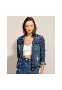 Jaqueta Jeans Destroyed Azul Escuro