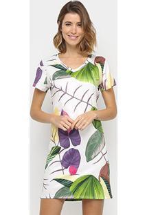 Vestido Royallove Reto Curto Tropical - Feminino-Branco