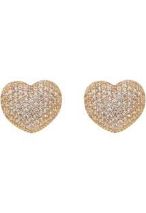 Brinco Aea Coração Cravejado Folheado Ouro 18K - Feminino-Dourado