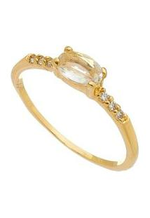 Anel Folheado A Ouro Com Zircônia De Cristal- Dourado & Carolina Alcaide