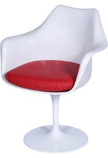 Cadeira Saarinen Tulipa Branca Com Braço Assento Vermelho