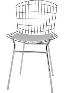 Cadeira Trama Vinil Pc220-Pozza - Branco Cromado