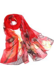 Lenço De Chiffon Estampado Aquarelado Grande Echarpe Xale Tons De Vermelho