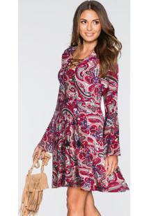 Vestido Evasê Estampa Paisley Rosa