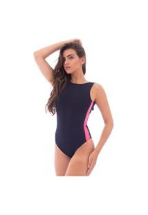 Body Moda Vicio Regata Com Decote Costas Preto E Recorte Na Lateral Rosa Neon