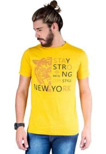 Camiseta Mister Fish Estampado Stay Strong Ney York City Masculina - Masculino-Mostarda