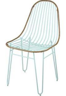 Cadeira Invisi Trama Azul Claro Acabamento Couro Marrom Base Aco Azul 45 Cm - 59978 - Sun House