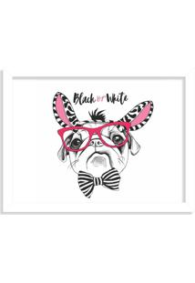 Quadro Decorativo Black Or White Pug Branco - Médio