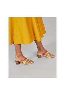 Amaro Feminino Sandália Salto Pintado Fachete, Amarelo