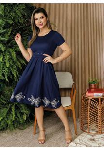 Vestido Marinho Com Pérolas Moda Evangélica