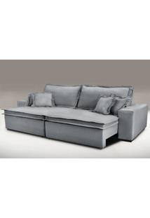 Sofa Retrátil E Reclinável Com Molas Cama Inbox Premium 2,52M Tecido Em Linho Cinza Escuro
