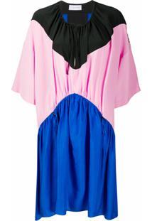 Christian Wijnants Vestido Evasê Color Block - Azul