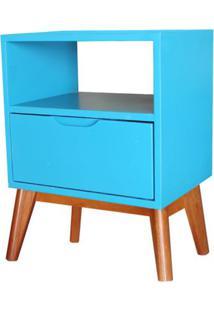 Criado Mudo On Com 1 Gaveta Azul Bebe Base Madeira Pinhao - 47781 Sun House