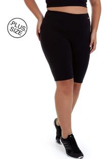 Bermuda Plus Size Supplex Preto Best Fit