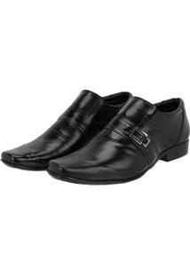 Sapato Social Couro Leoppé Costura Transversal Masculino - Masculino-Preto