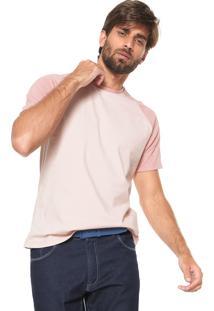Camiseta Fiveblu Manga Curta Raglan Rosa