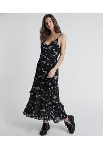 Vestido Feminino Longo Estampado De Arabescos Com Tassel Alça Fina Preto