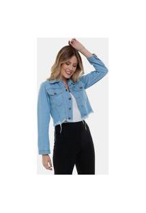 Jaqueta Jeans Curta Destroyed Cropped Iii Feminina Azul Claro