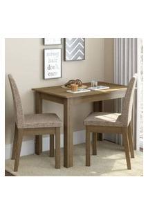 Conjunto Sala De Jantar Madesa Titi Mesa Tampo De Madeira Com 2 Cadeiras Rustic/Fendi