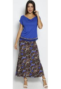 Blusa Lisa Com Tule - Azul Escuro & Bege - Thiptonthipton