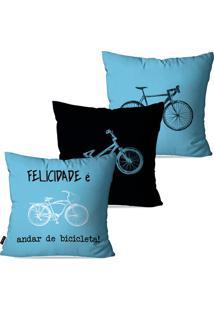 Kit Com 3 Capas Para Almofadas Pump Up Decorativas Azul Bicicleta Felicidade 45X45Cm